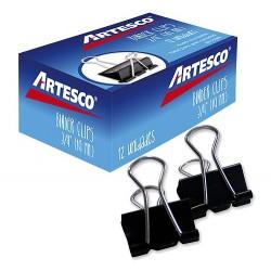 "Clip Binder 19 mm 3/4"" Caja de 12 Unidades ARTESCO"