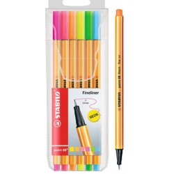 Boligrafo fine pen point STABILO x 6 colores