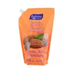 BALLERINA JABON LIQUIDO DOYPACK X 1 LT. AVENA ACEITE ALMENDRAS