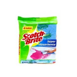 PAÑO SCOTCH BRITE SUPER ABSORVENTE X 4 UN