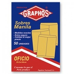 Sobres Manila Graphos Pago/1/2 oficio/A-4