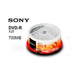 DVD_R CONO X 25 SONY 4.7GB GRAVABLE